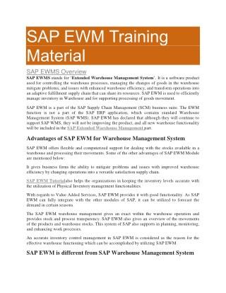 SAP EWM Material PDF