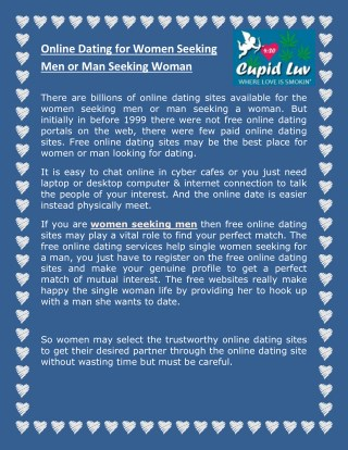 Online Dating To Women Seeking Men or Man Seeking Woman - 420Cupidluv.com