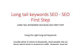 Long tail keywords SEO - SEO First Step