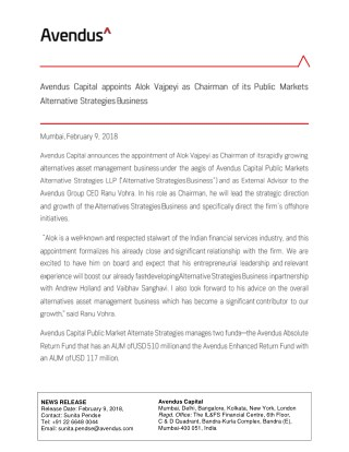 Avendus Capital appoints Alok Vajpeyi as Chairman of its Public Markets Alternative Strategies Business
