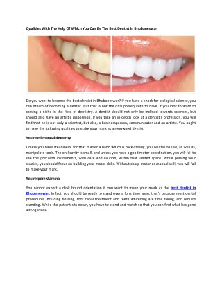 Qualities With The Help Of Which You Can Be The Best Dentist in Bhubaneswar