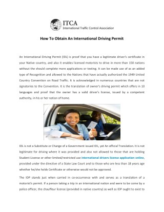 Apply for International Driving Permit | Drivers License| ITCA