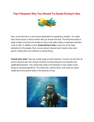 Top 5 Reasons Why You Should Try Scuba Diving In Goa.