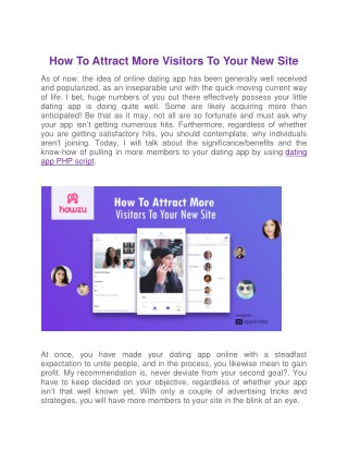 Attract More Visitors To Your New Dating Site