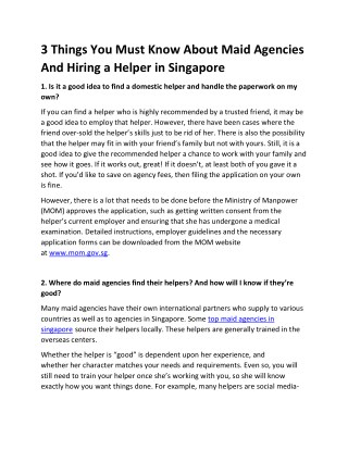 3 things you must know about maid agencies and hiring a helper in singapore