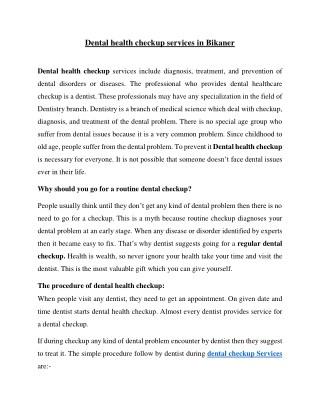 Dental health checkup services in Bikaner