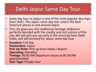 Delhi Jaipur one day tour package by Car