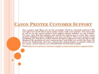 Canon Printer Customer Support Toll-free Number