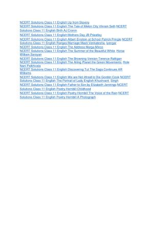 Ncert solutions class 11 english