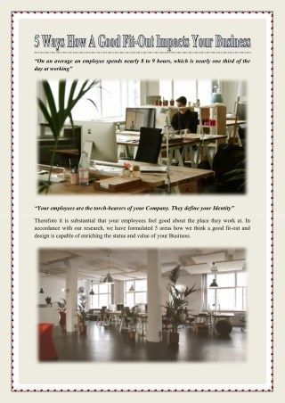 5 ways how a good fit-out impacts your Business