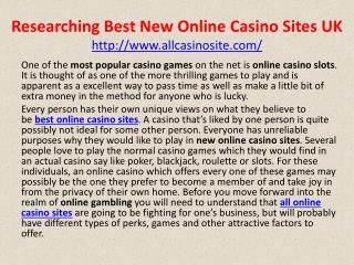 Researching Best New Online Casino Sites UK