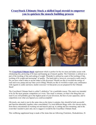 CrazyStack Ultimate Stack a skilled legal steroid to empower you to quicken the muscle building process