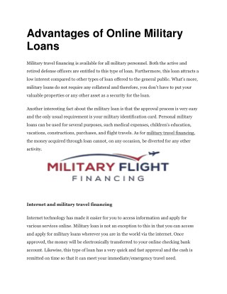 Advantages of Online Military Loans