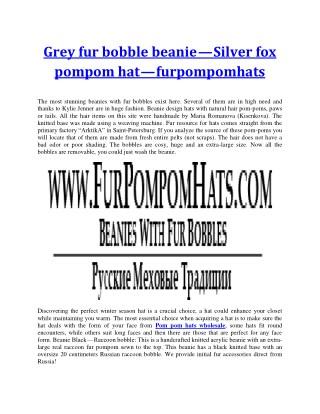 Beanie fur hats with fur pompoms/bobbles - furpompomhats.com