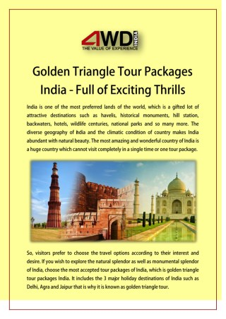 Golden Triangle Tour Packages India - Full of Exciting Thrills