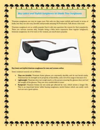 Buy latest and stylish sunglasses for men and women at shadetreesunglasses online store