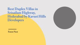 Best Duplex Villas in Srisailam Highway, Hyderabad by Kavuri Hills Developers