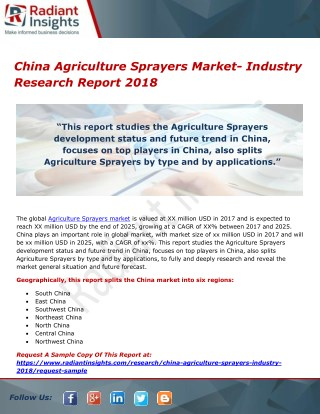 China Agriculture Sprayers Market- Industry Research Report 2018