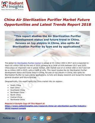 China Air Sterilization Purifier Market Future Opportunities and Latest Trends Report 2018