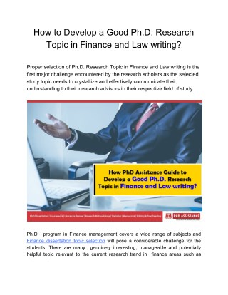 How to Develop a Good Ph.D. Research Topic in Finance and Law writing