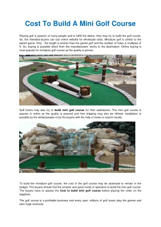 building a mini golf course   build a miniature golf course   cost to build a mini golf course