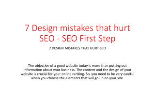 7 Design mistakes that hurt SEO - SEO First Step
