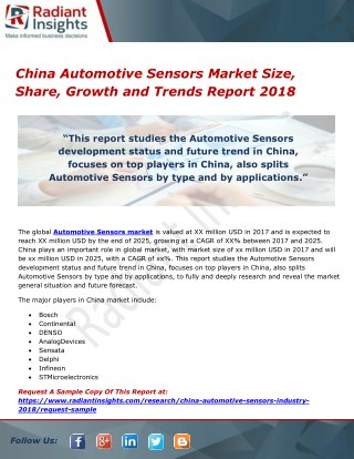 China Automotive Sensors Market Size, Share, Growth and Trends Report 2018