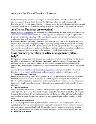 Analytics for Dental Practices Software