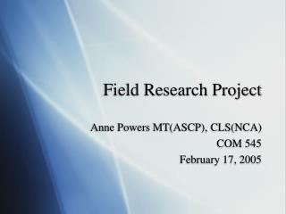 Field Research Project
