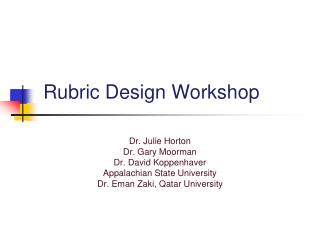 Rubric Design Workshop