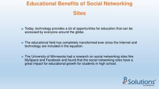Educational Benefits of Social Networking Sites