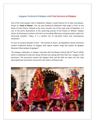 Gangaur Festival in Udaipur with Taxi Services in Udaipur