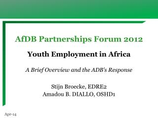 AfDB Partnerships Forum 2012