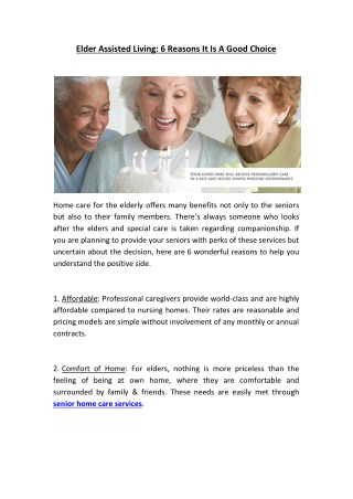 Elder Assisted Living: 6 Reasons It Is A Good Choice