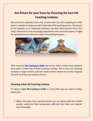 Get Driven for your Exam by Choosing the best IAS Coaching Institute.pdf