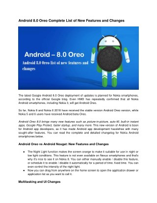 Android 8.0 Oreo Complete List of New Features and Changes