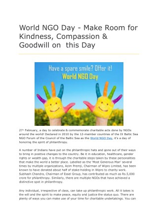 World NGO Day - Make Room for Kindness, Compassion & Goodwill on this Day