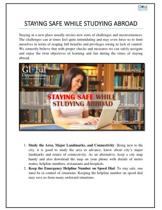 STAYING SAFE WHILE STUDYING ABROAD