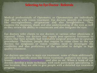 Selecting An Eye Doctor - Referrals