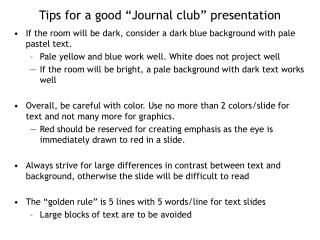 Tips for a good  Journal club  presentation
