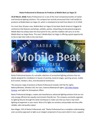 Rasha Professional Exhibits its Lighting Solutions at Mobile Beat Las Vegas.