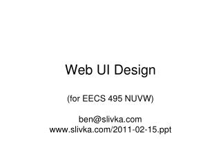 Web UI Design