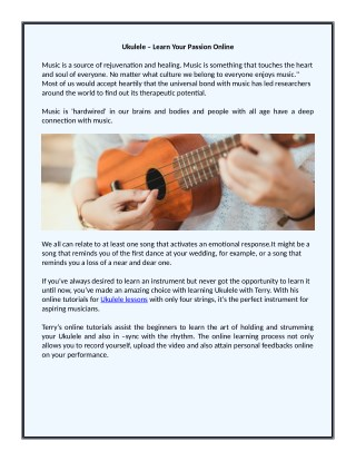 Ukulele- Learn Your Passion Online