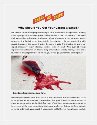 Why Should You Get Your Carpet Cleaned?
