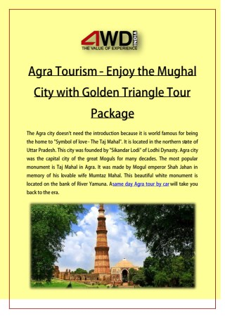 Agra Tourism - Enjoy the Mughal City with Golden Triangle Tour Package