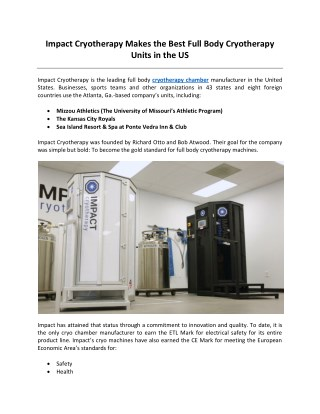 Impact Cryotherapy Makes the Best Full Body Cryotherapy Units in the US