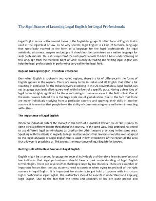 The Significance of Learning Legal English for Legal Professionals