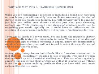 Why You May Pick a Frameless Shower Unit