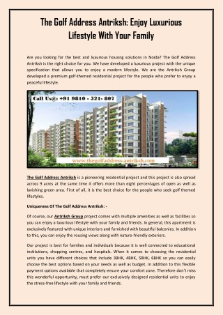 The Golf Address Antriksh: Enjoy Luxurious Lifestyle With Your Family