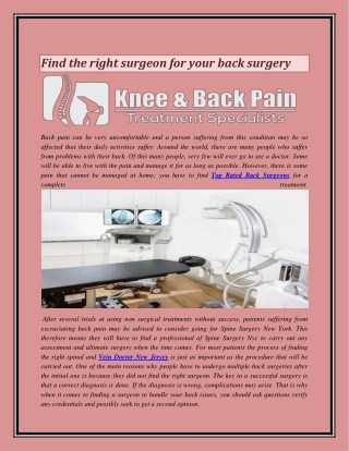 Find the right surgeon for your back surgery